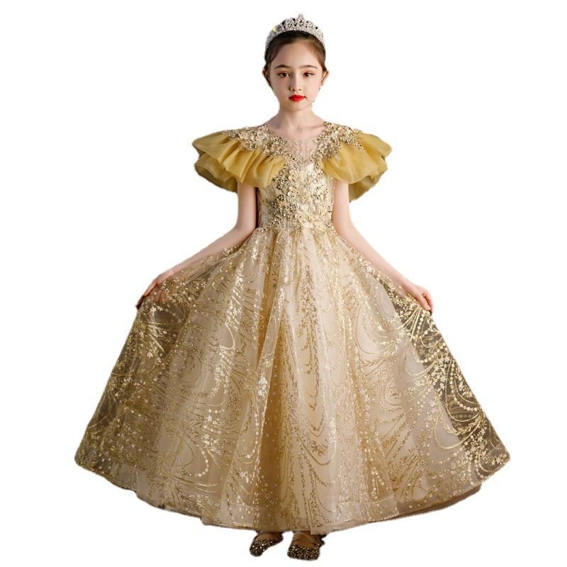 Summer 2021 Flower Girl Dresses for Weddings  Princessbirthday Party Prom Long Dress Perform Baptism Halloween ChristmasYellow enlarge