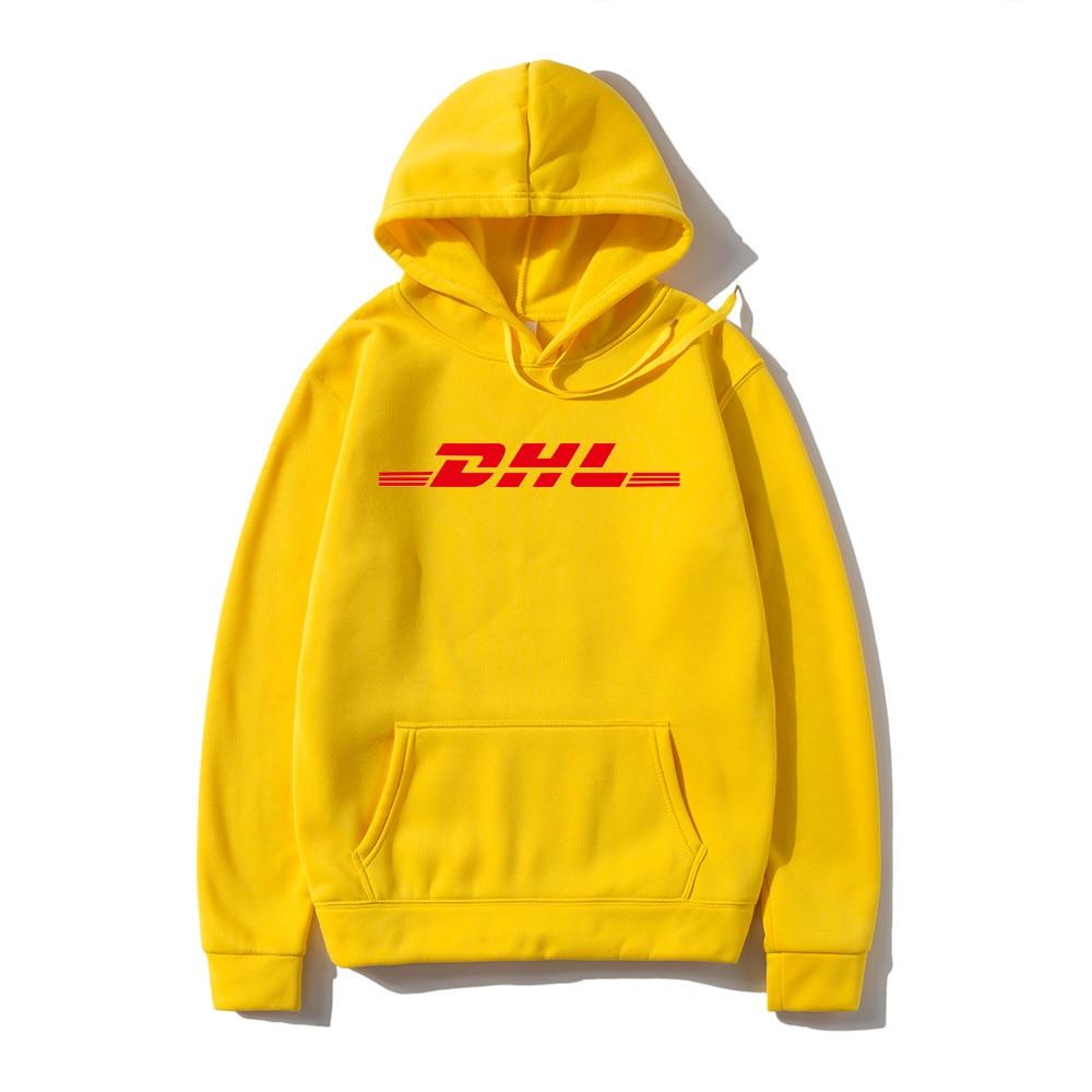 Yellow DHL Hoodie Jumper Sweatshirt Men Women Unisex Fashion Grunge 90s Casual Tops Long Sleeve DHL SEXPRESS Drop ship