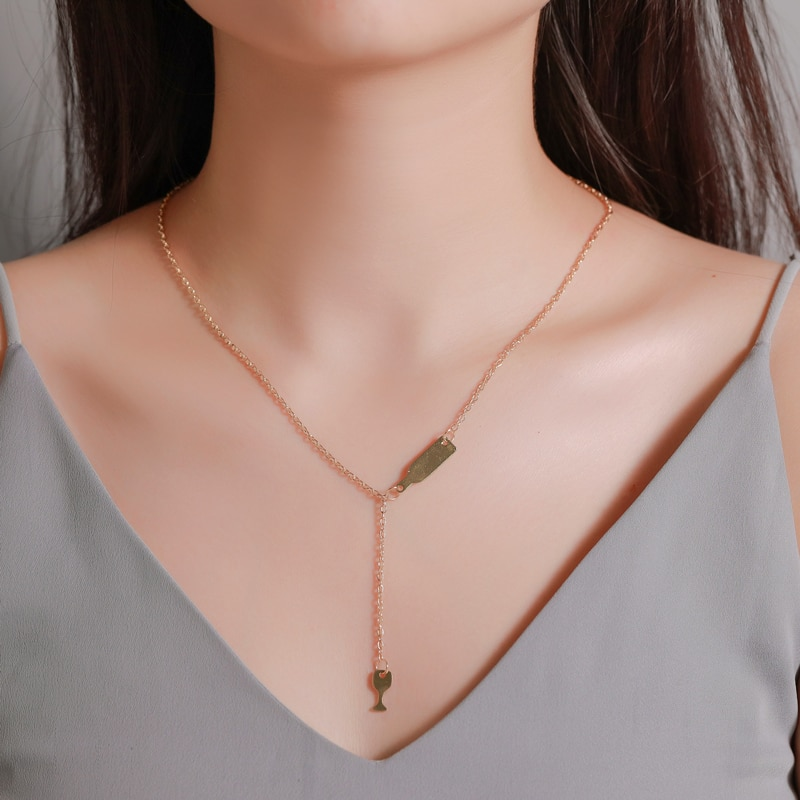 JUMPLIM Venta caliente collar simple de moda creativa botella de vino de cristal collar mujeres largo de una sola jersey en capas de regalo de cadena