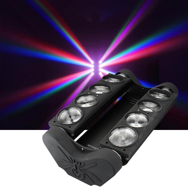 Proyector de haz de luz de escenario con control DMX de 8x12W RGBW, luz de araña Led móvil, luces de fiesta de música, pista de baile, discoteca, DJ