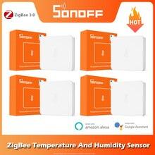 SONOFF-Sensor de temperatura y humedad SNZB-02 ZigBee, notificación en tiempo Real con batería baja, funciona con eWeLink, Alexa y Google Home
