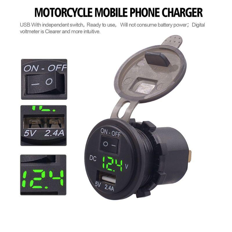 12 В/24 В водонепроницаемый 2.4A USB гнездо автомобильного зарядного устройства адаптер питания с выключением светодиодный вольтметр для автомобиля морской ATV Лодка Mot