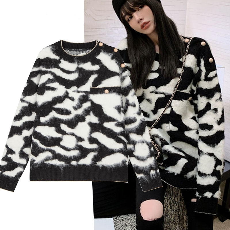Vintage Sweaters Women Button Up Loose Casual Long Sleeve Leopard Autumn Winter Warm Thick Knitted P