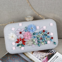 New Design Flower Acrylic Women Evening Bags Silver Color Beaded Lady Day Clutch With Diamonds Handb