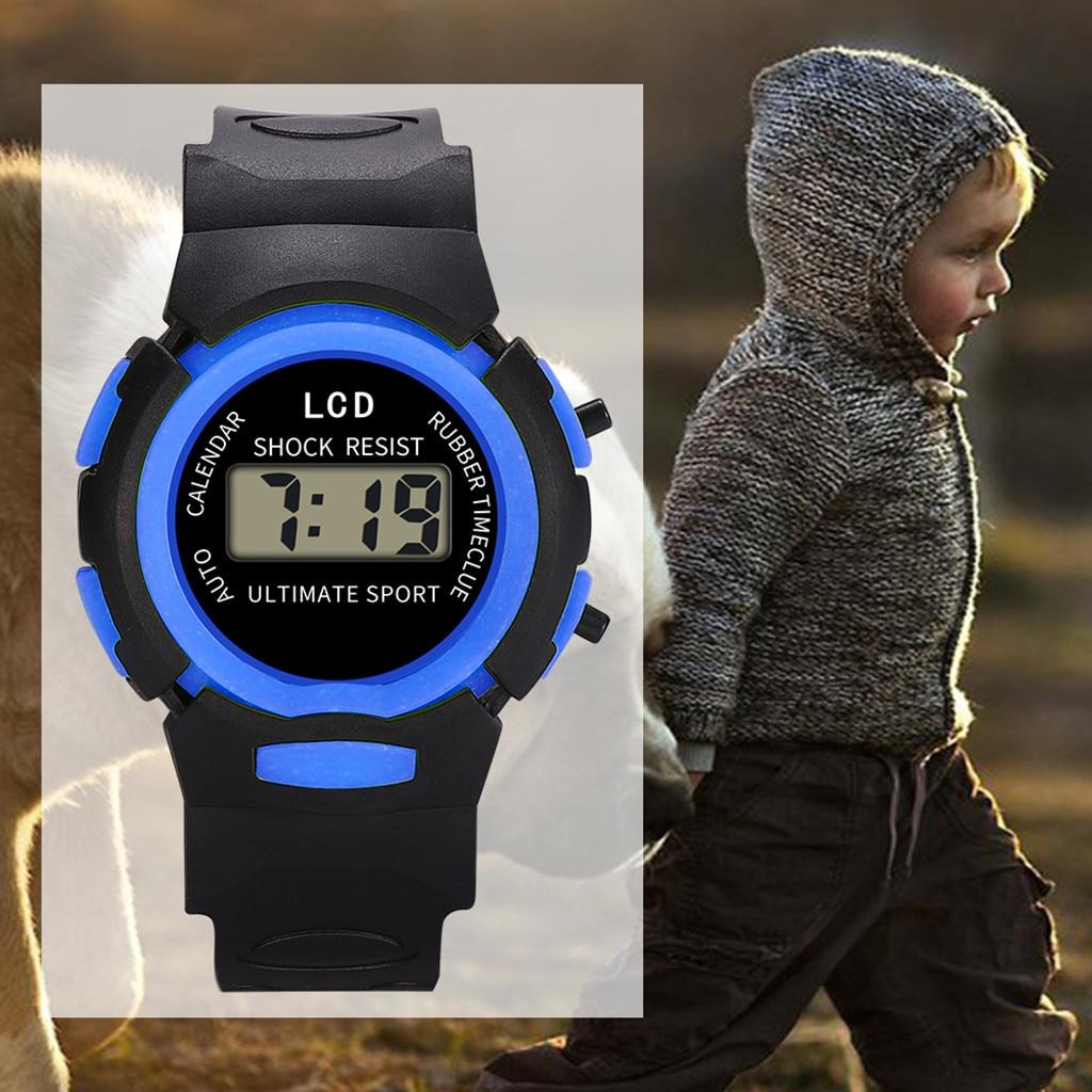 Children Wristwatches Fashion Sport Digital Watches Sport LCD Electronic Wrist Watch Acrylic Dial Sh