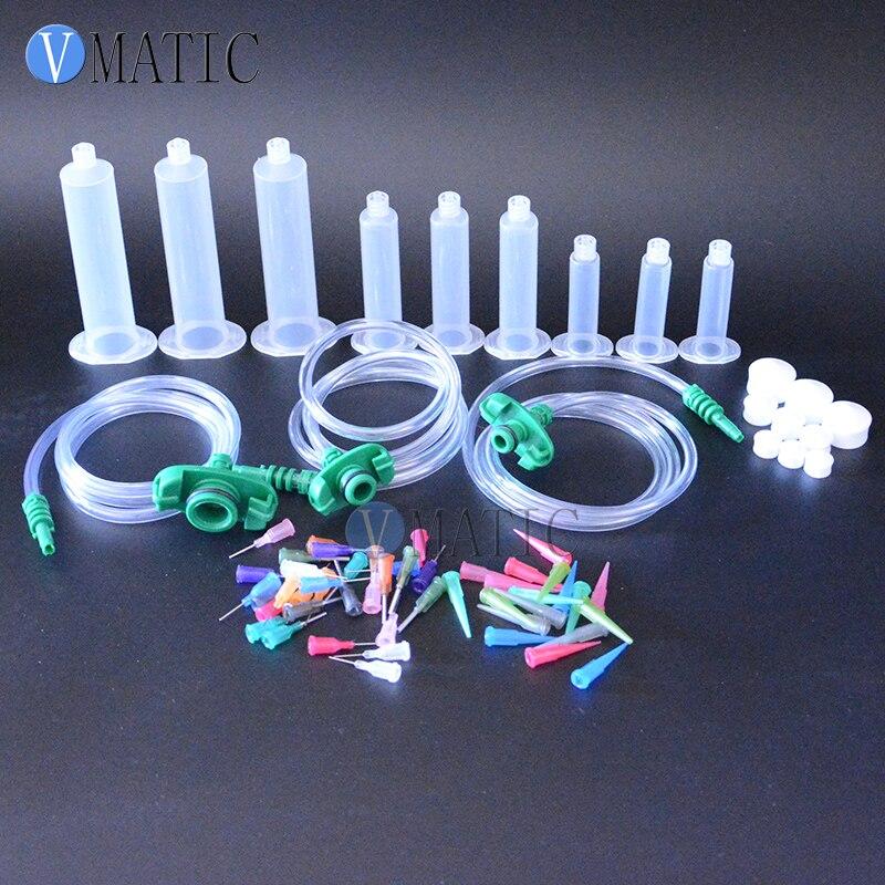 Free Shipping Hot Selling Liquid Glue Dispenser Solder Paste Adhesive Pneumatic Syringe 5/10/30cc ml + Dispensing Needle