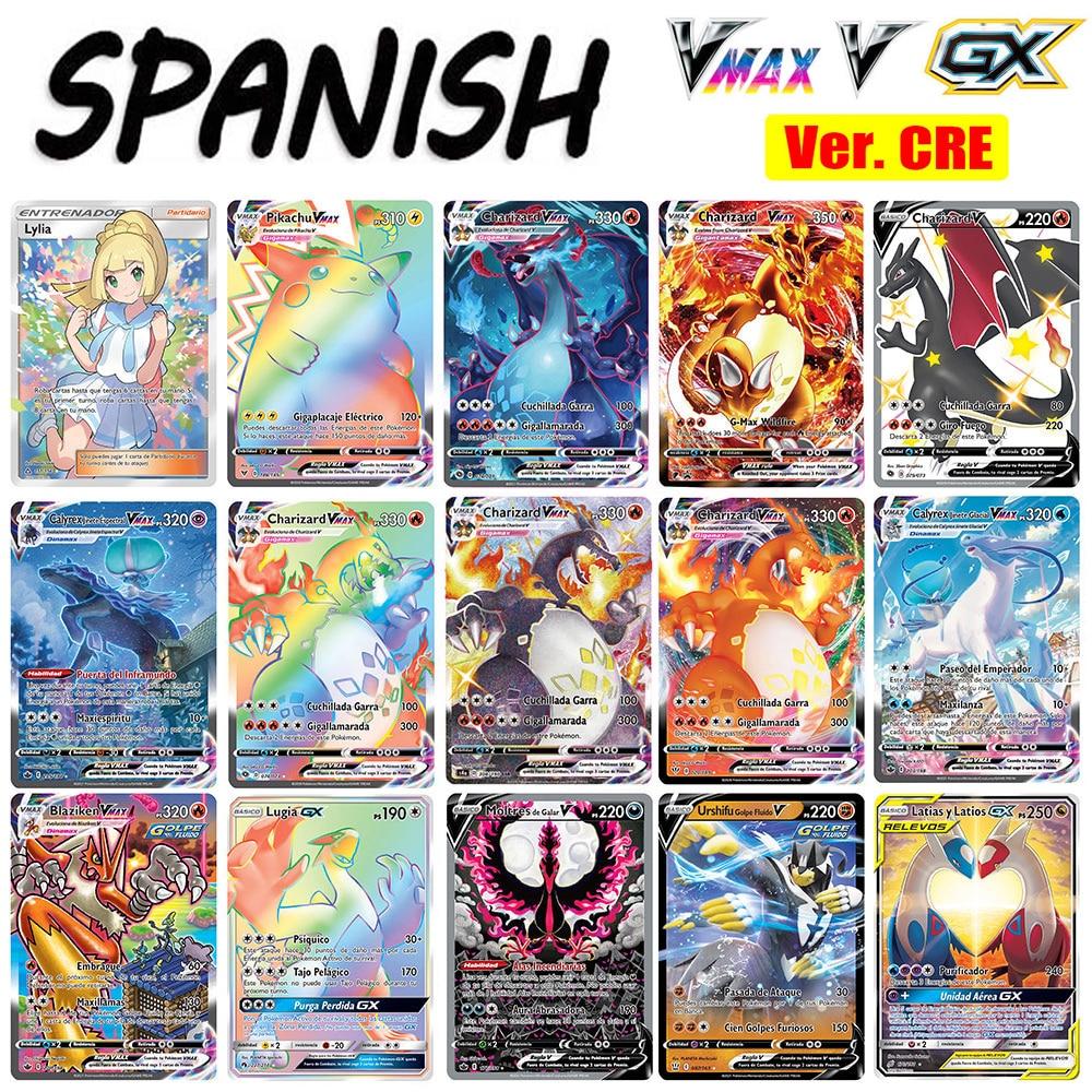 30-300 pokemon cartões em espanhol tag equipe gx vmax treinador energia holográfica jogo de cartas castellano español crianças brinquedo