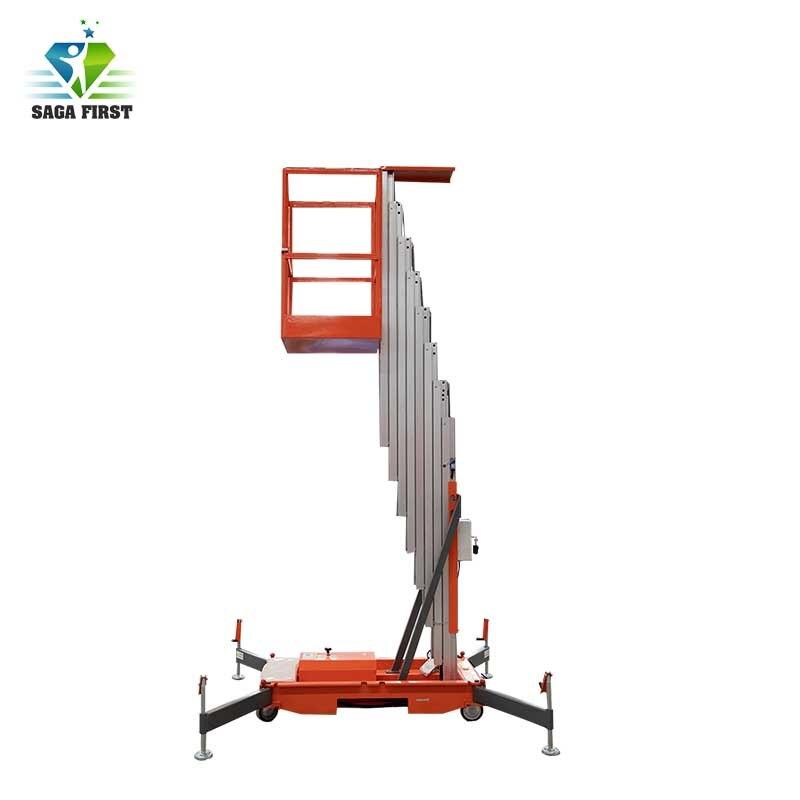 10m 14m Dois Homem Elevador De Alumínio Mastro Plataforma de Trabalho Aéreo