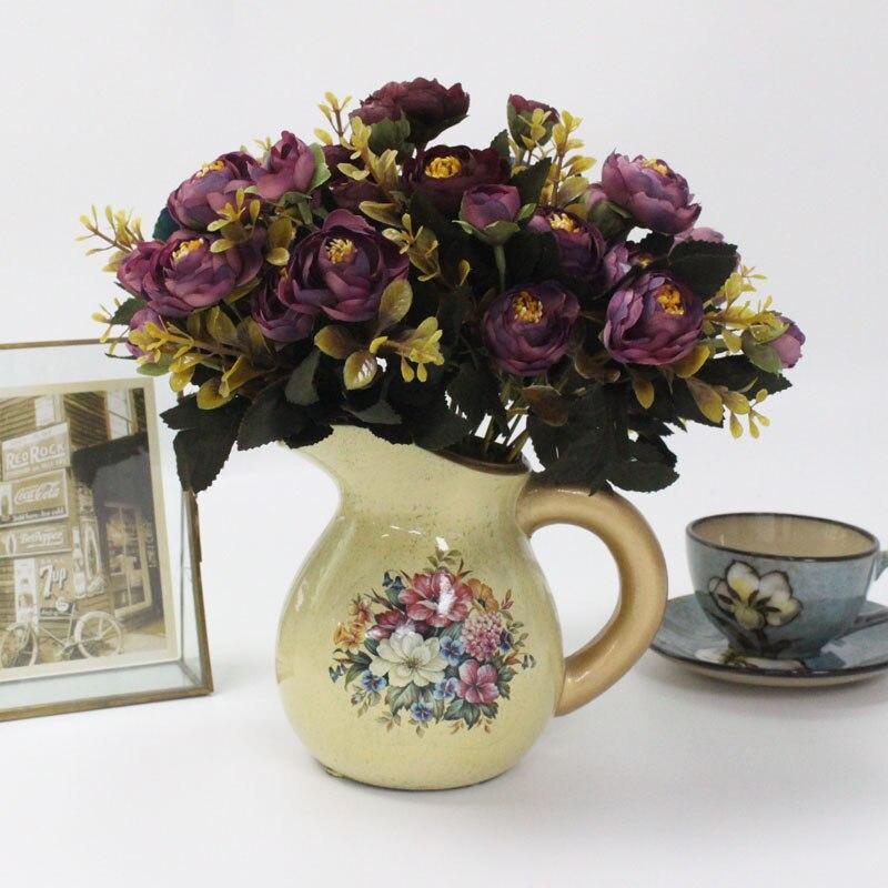 1 זר 9 ראש מלאכותי משי בד מזויף פרחים עלה אדמונית פרחוני בית מסיבת חתונת בית תפאורה כחול תה עלה זר קטן