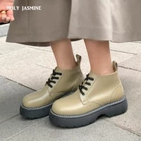 autumnwinter new women shoes genuine leather round toe ankle boots solid platform boots women casual low heel shoes for girls
