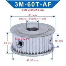 Polea 3M-60T forma AF agujero 8/10/12/14/15/16/17/19/20mm aluminio polea ranura 16 mm para correa de distribución 3M ancho 15 mm