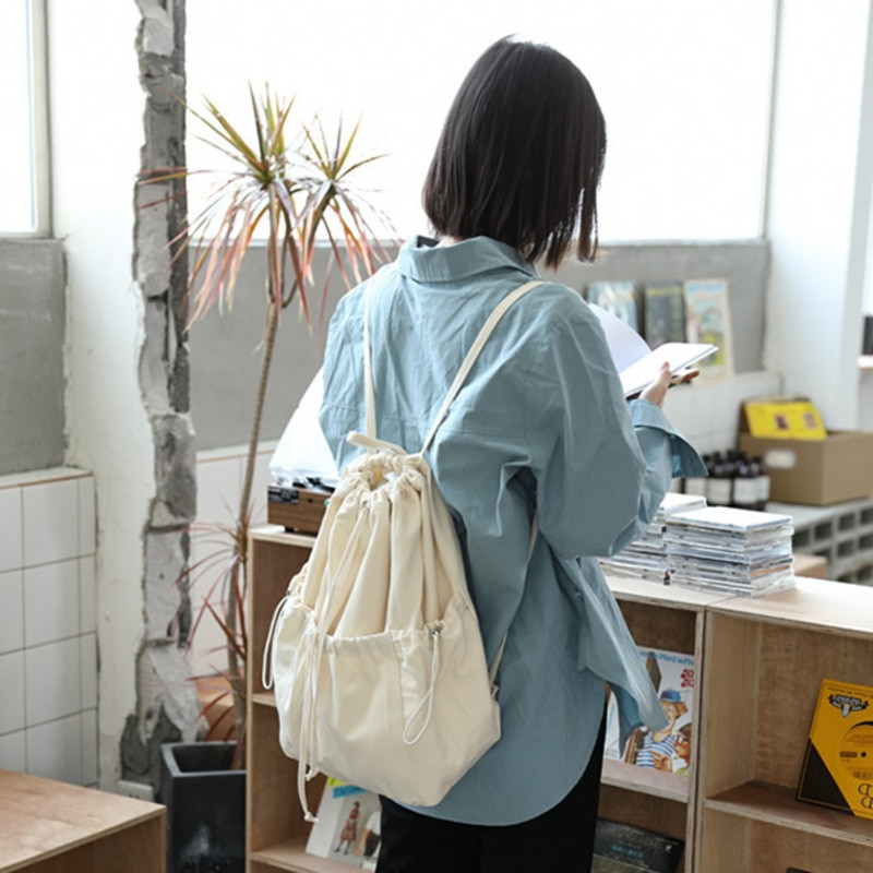 Simple Drawstring Backpack Leisure Literature And Art Department With Schoolbag Versatile Student Sh