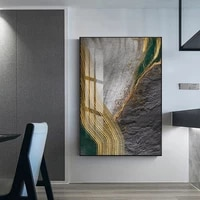Affiche en feuille dor a Texture de riviere  peinture sur toile suspendue abstraite  decoration de salon  peinture artistique murale