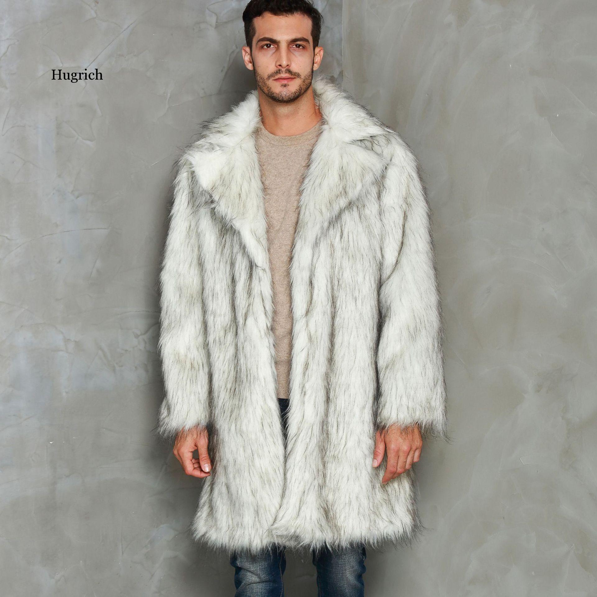 Winter Men Faux Fur Coat 2020 Fox Jacket Fashion Mens Warm Solid Color Thick Outwear Overcoat