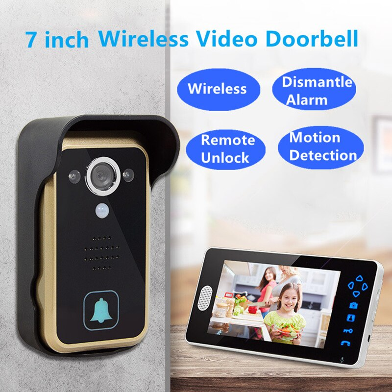 2.4GHz Wireless Video Doorbell Home Intercom System Camera Door Bell w/ 7 Inch Screen Monitor Villa