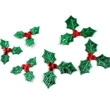 Tissu de 100 pièces pour décoration de noël   Décoration de Table, avec des feuilles de houle vert pailleté et des baies rouges, accessoires adhésifs