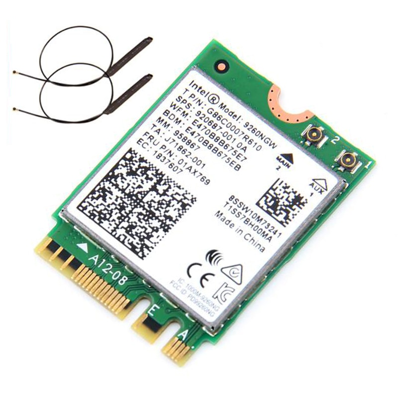 Banda Dual inalámbrica, CA 9260 para Intel 9260NGW NGFF 802.11ac MU-MIMO 1730Mbps 1,73 Gbps WiFi + Bluetooth 5,0 tarjeta compatible con Windows 10