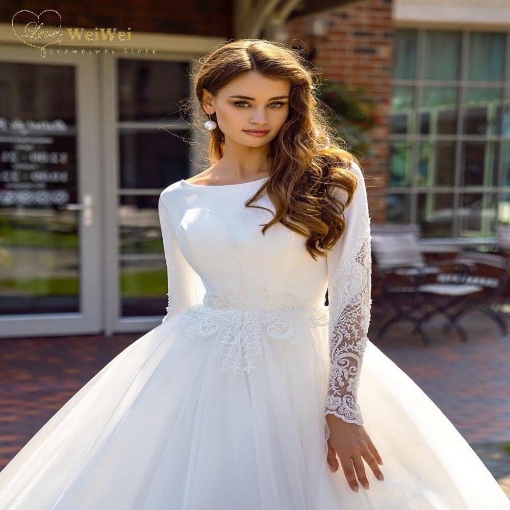 Vintage Muslim Wedding Dress A-Line Court Train Long Sleeve O-Neck Back Button Satin Lace Applique Bride Gown Vestido De Novia