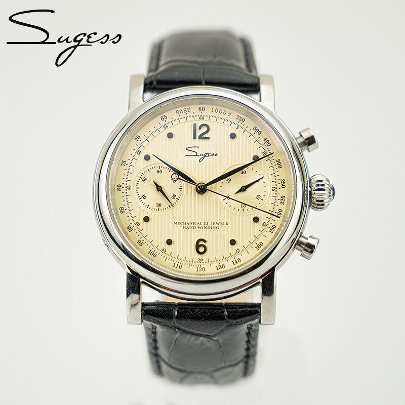 Sugess Seagull Movement Chronograph ST1901 Pilot Mens Watches 1963 Chronograph 40MM Vintage Sapphire