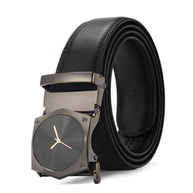 Peikong Men Belt Automatic Genuine Leather Luxury Black Belt Men's Belts Automatic Buckle High Quality belt cummerbunds Male