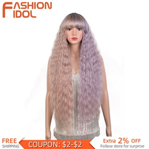 Ombre Pink Pueple Lolita Wigs With Bangs Cosplay Long Water Wave 36 Inches Hair Synthetic Blue Wig For White Women FASHION IDOL