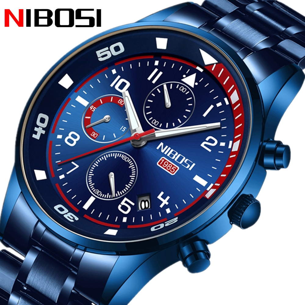 New Fashion NIBOSI Relogio Masculino Men Watches with Stainless Steel Top Brand Luxury Sports Chronograph Quartz Watch For Men