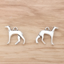 20 pièces Greyhound Whippet chien chien 3D breloques pendentifs perles 22x20mm