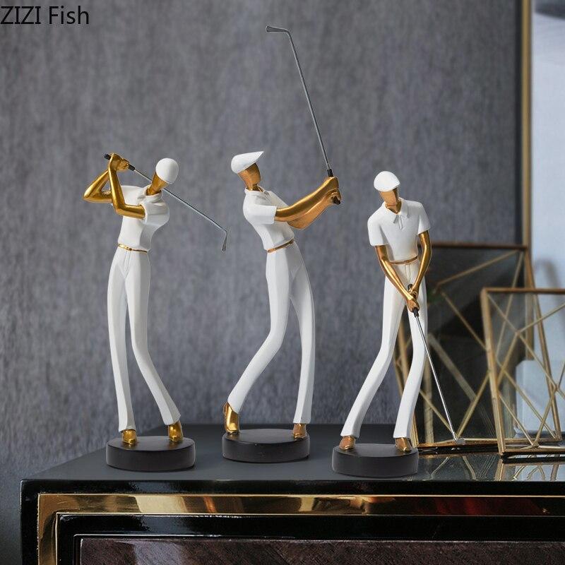 الإبداعية الراتنج رجل الغولف النحت خزانة مشروبات غرفة المعيشة الحرف شخصية تمثال ديكور المنزل التماثيل الحديثة هدية الزفاف