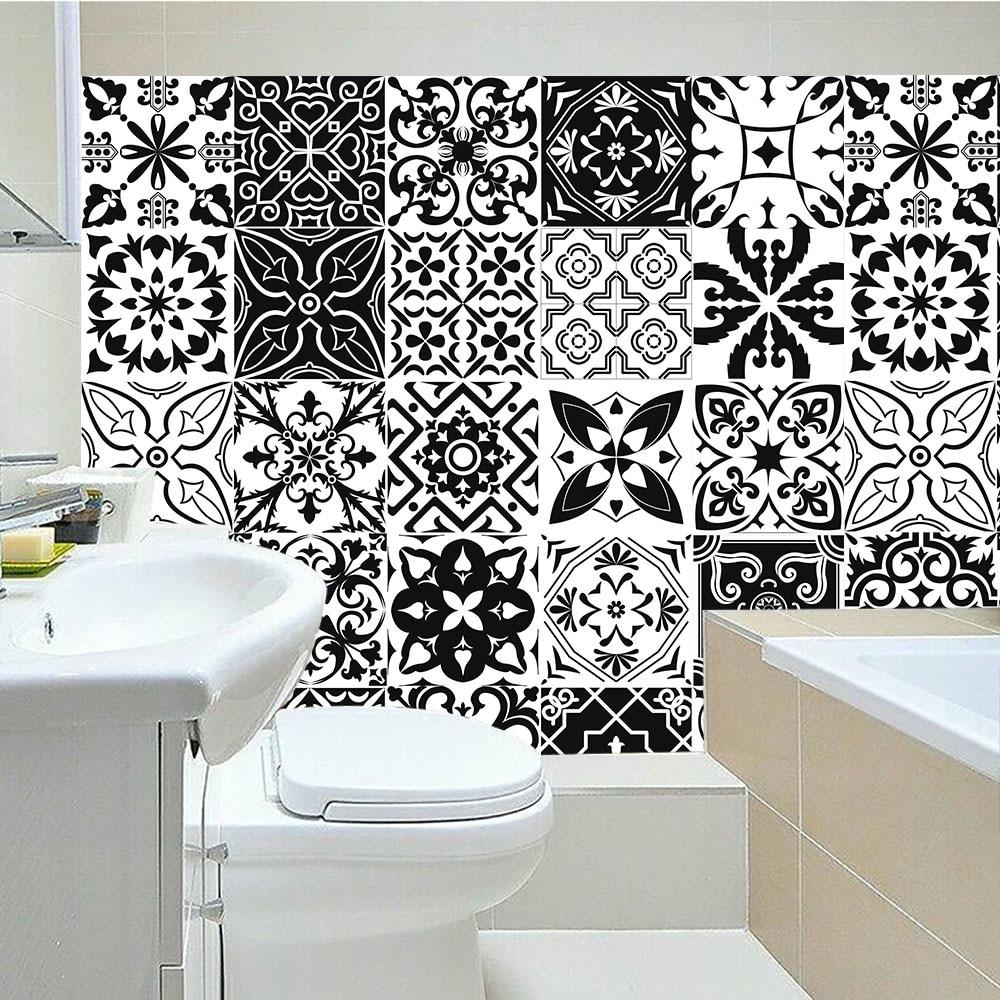 10/15/20/30cm Black & White Retro Strip Tiles Wall Sticker Bathroom Kitchen Stairs Tables Decoration Wallpaper Vinly Art Mural