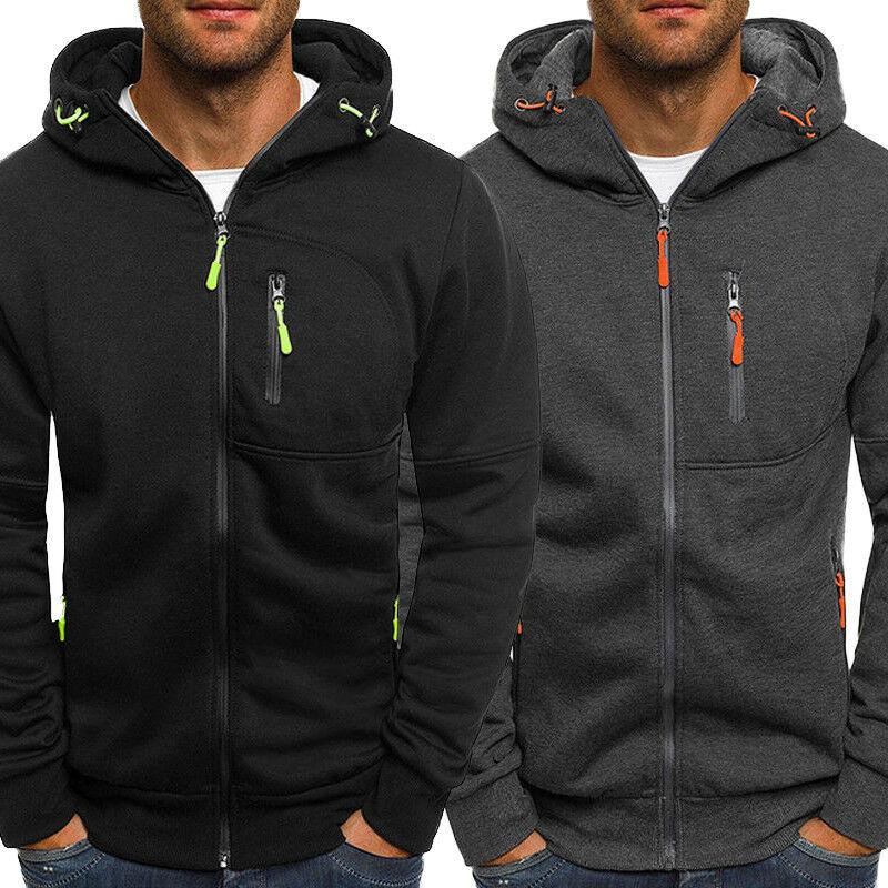 Men's Winter Hoodies Slim Fit Hooded Sweatshirt Outwear Warm Coat Jacket Plain Zip Up Casual Coat To