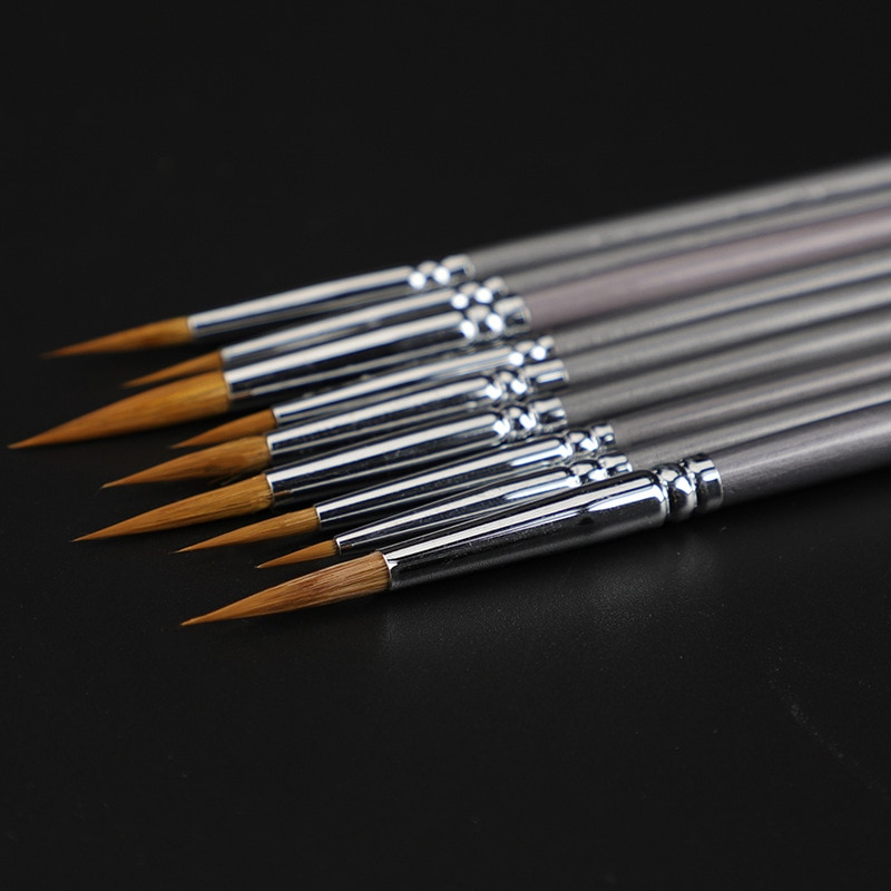 9 Uds arte pelo de comadreja de libro de línea cepillo pintura óleo Guache pintura línea de gancho pluma durable delgada de abedul de plata pluma rod