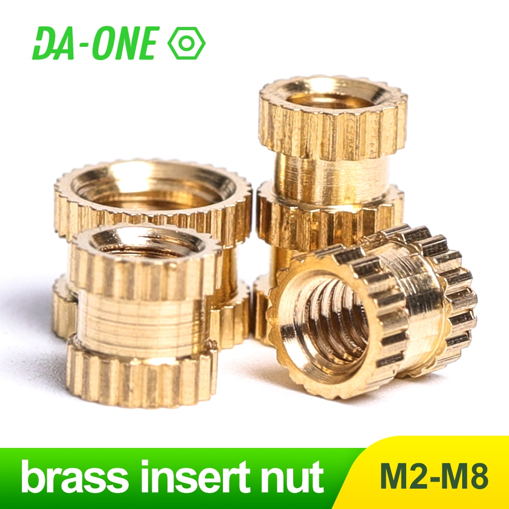 DA-ONE 10/25/50/100 Pcs Brass Insert Nut M2 M2.5 M3 M4 M5 M6 Female Thread Copper Molding Knurled Threaded Nuts  for 3D Printer