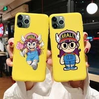 anime dr slump arale phone case for iphone 6 6s 7 8 plus xr x xs xsmax 11 12 pro mini max candy yellow silicone cover
