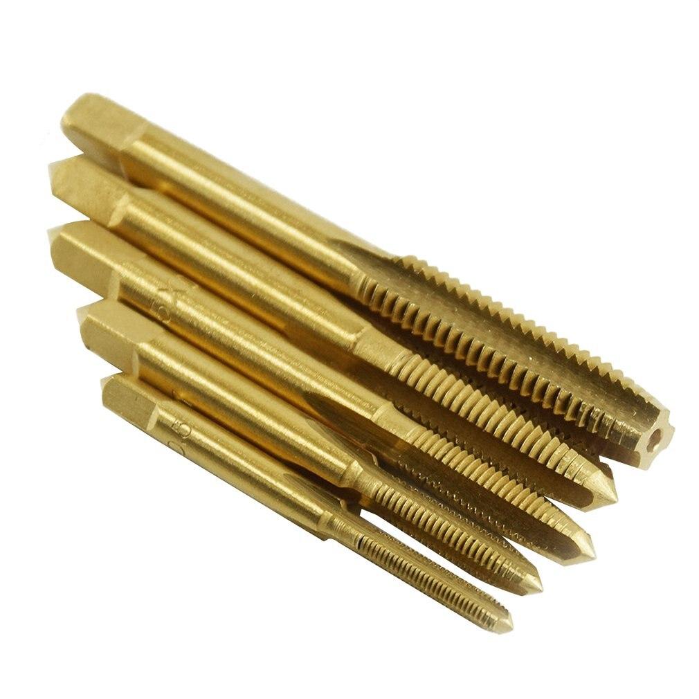 5 uds M3/M4/M5/M6/M8 HSS titanio plateado máquina recto estriada de rosca de tornillo conector métrico broca manual de herramientas de mano