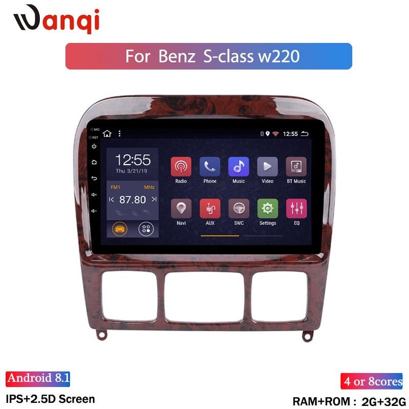 Radio de coche 2 + 32G Navi GPS estéreo Android 8,1 para Mercedes Benz Clase S W220 S280 S320 S350 S400 S430 S500 S600 AMG 1998-2005
