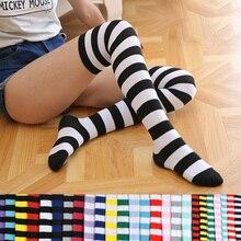 Calze da donna calze lunghe a righe sopra il ginocchio stampate dolce carino Kawaii pastello calze al ginocchio calze alte Dropship