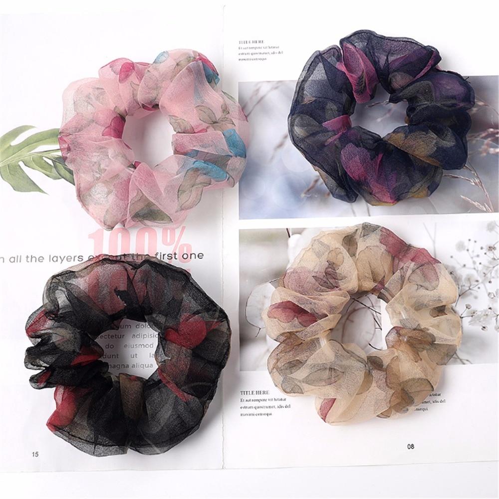 1pc de moda de encaje estampado gomas para el pelo de las mujeres tocado de cola de caballo de pelo cuerdas elástico para el pelo Pelo accesorios nuevo