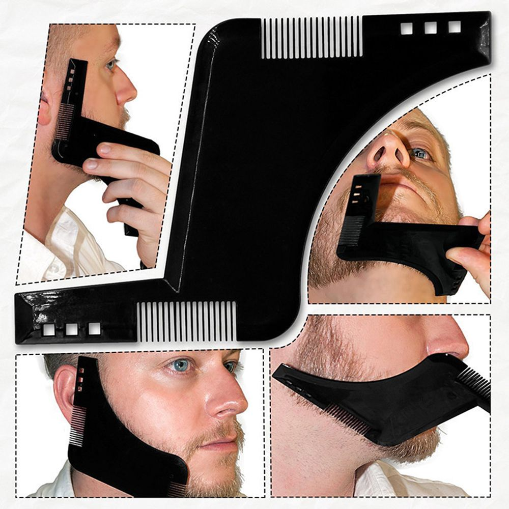 Hot 1PCS High Quality Beard Shaping Styling Template PLUS Beard Comb All-In-One Tool ABS Comb for Hair Beard Trim Template all for beard