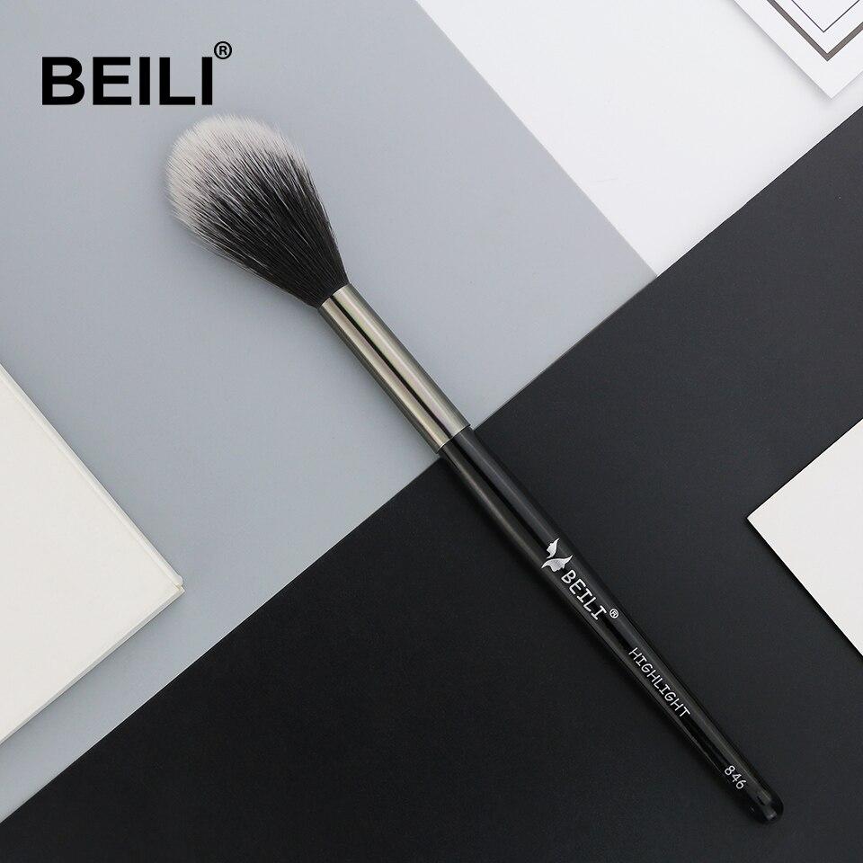 BEILI 1 pieza de cabello sintético destacar pincel de maquillaje para colorete mango largo pincel de maquillaje individual 846 #