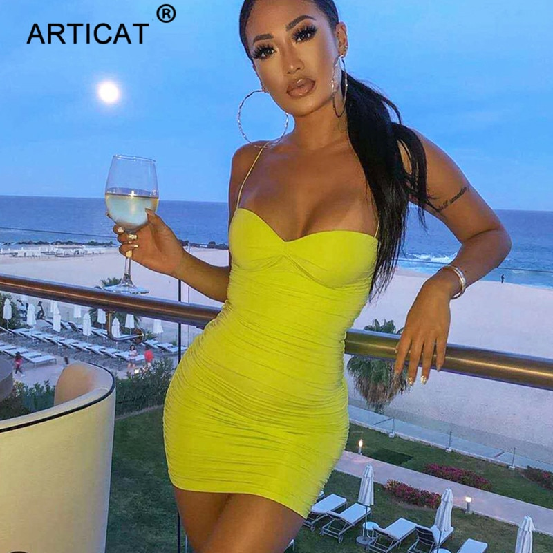 aliexpress - Articat Strapless Ruched Bodycon Summer Dress Women Spaghetti Strap Sexy Party Dress White Casual Pleated Dress Short Vestidos