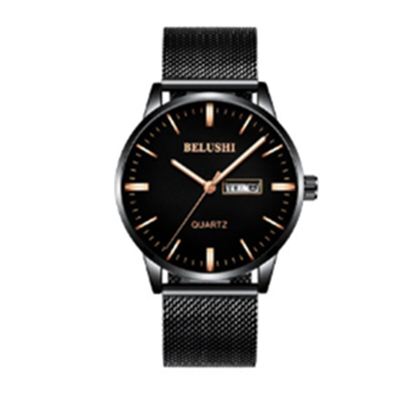 Fashion Watch Men Quartz Watch Steel Mesh Waterproof Black Mesh Strap Wristwatches Sport Watch Casual Male Clock Calendar 531