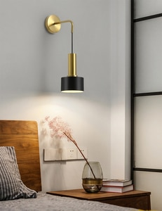 Nordic Led  Bedside Wall Lamp Black Brass Post-modern Simple Luxury Wall Lights Stairs Corridor Mirror AC90-260V