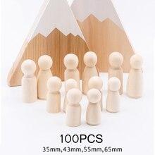 100 unidades (35mm,43mm,55mm,65mm) muñecas de madera hechas a mano DIY de madera en blanco decoración del hogar muñeco para niño y niña Mini muñecas de madera sin terminar