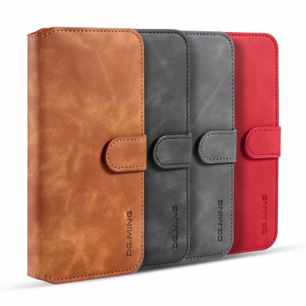 DG. mi NG Retro llano magnético Flip PU cuero tarjeta bolsillos cartera funda suave teléfono cubierta para Xiaomi mi Note 10 Pro rojo mi nota 8T