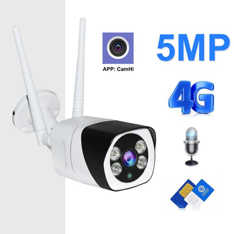 3G 4G SIM Card IP Camera 1080P 5MP HD Wireless WIFI Outdoor Security Bullet Camera CCTV Metal P2P Onvif Two Way Audio Camhi APP