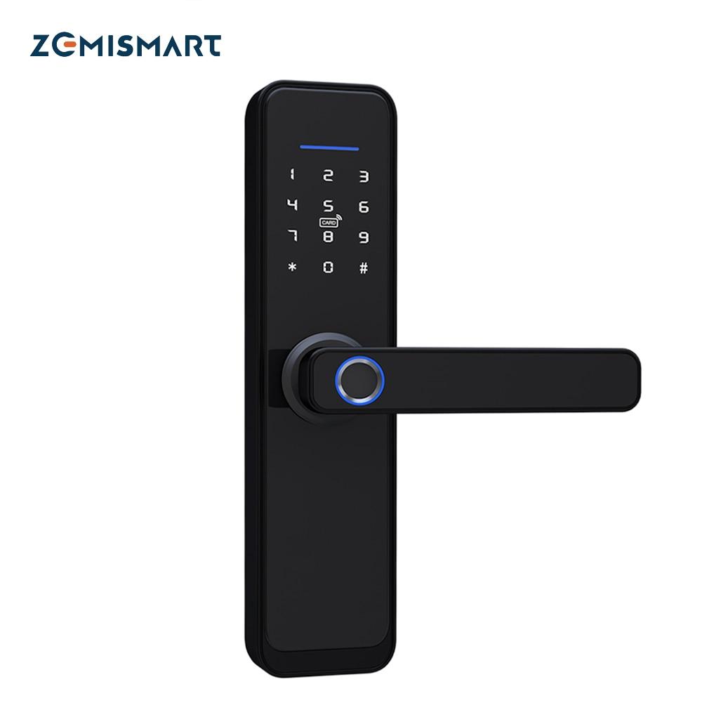 Zemismart Tuya واي فاي الذكية مقبض الباب قفل الأساسية اسطوانة قفل الأمان الذكي التشفير مع مفاتيح العمل مع التطبيق الحياة الذكية