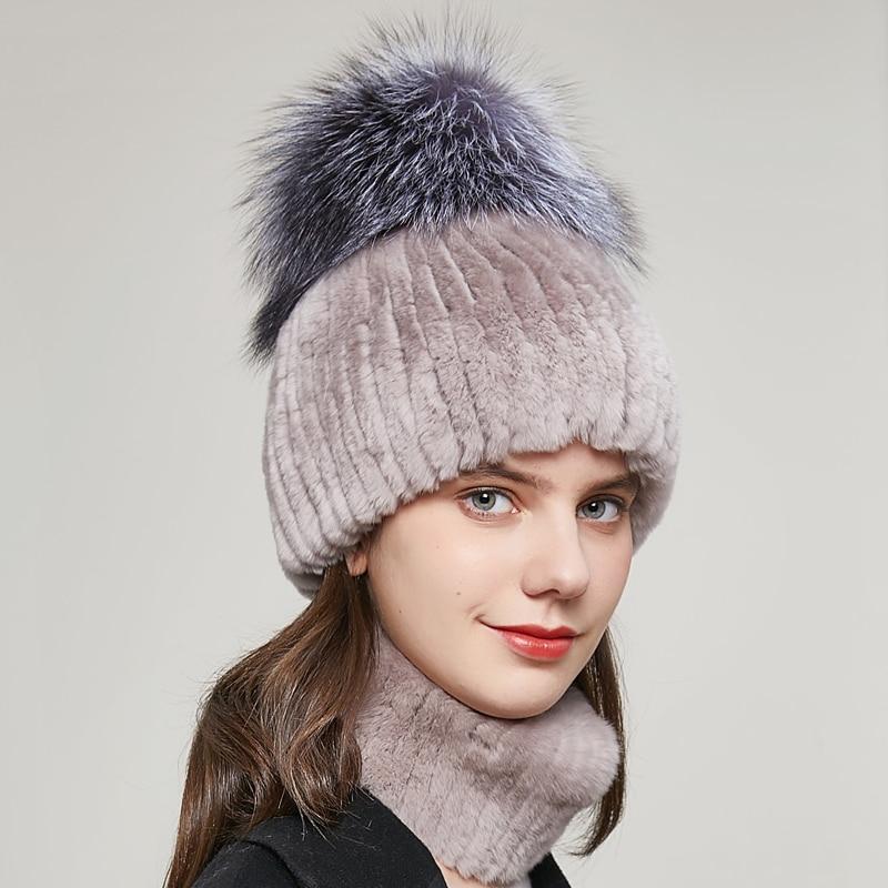 Women's Winter Rex Rabbit Fur Hat Knit Stripe and Silver Fox Fur Ball Ear Protection Luxury Beanie caps