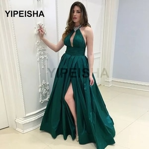 Halter Sleeveless Backless Evening Dress Sexy Front High Split Floor Length Sweep Train Prom Party Gown robe de soirée