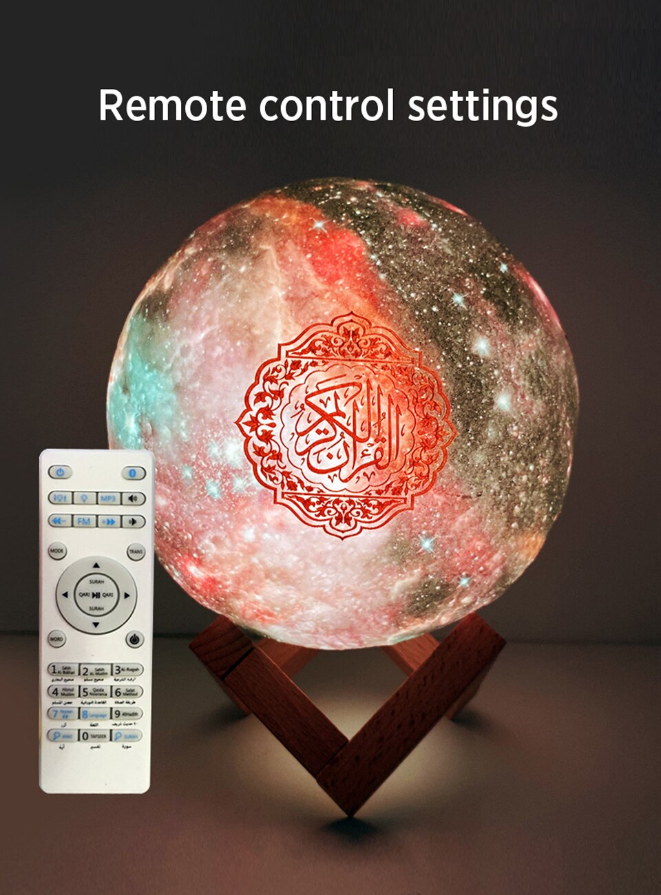 Muslim Quran Bluetooth Speaker Dropshipping 3D Print Star lamp Wireless Colorful remote Touch LED Lightveilleuse coranique