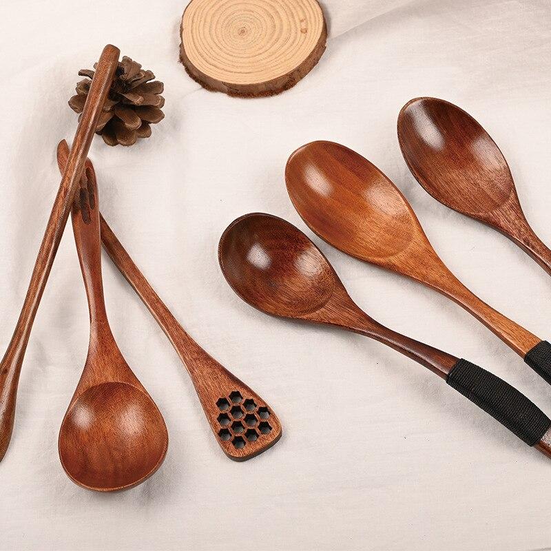 Cucharas de madera japonesas de alta calidad con cucharas de hilo cucharas de miel personalizadas cucharas para café cucharas de mezcla